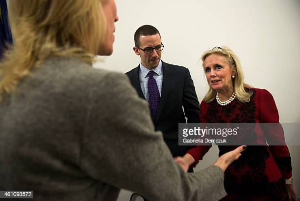S Rep Debbie Dingell greets supporters during an open house at her office in the House Canon Office building on Capitol Hill on January 6 2015 in...