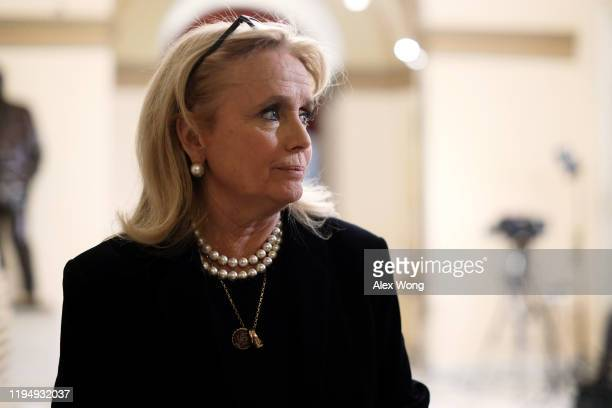 Rep. Debbie Dingell is seen in a hallway of the U.S. Capitol prior to an event at the Rayburn Room December 19, 2019 in Washington, DC. President...