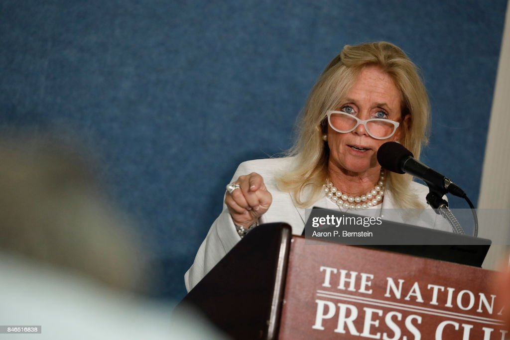 Rep. Debbie Dingell (D-MI) speaks at a news conference held by Save the US EPA September 13, 2017 in Washington, DC. Activists are speaking out against cutbacks at the EPA instituted by the Trump administration.