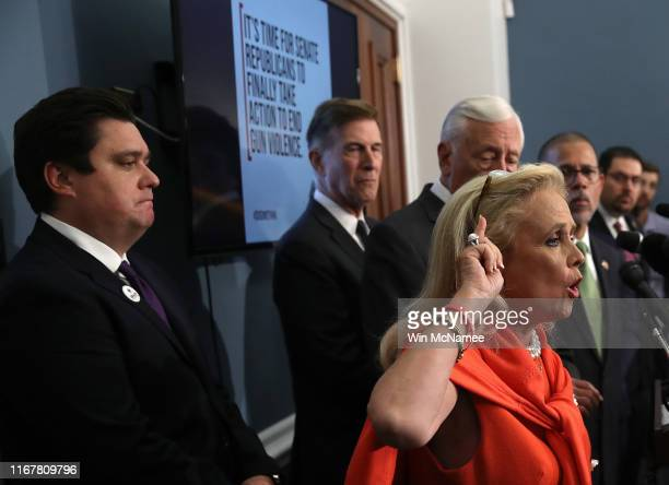 Rep. Debbie Dingell speaks during a press conference calling for gun reform legislation at the U.S. Capitol August 13, 2019 in Washington, DC. House...