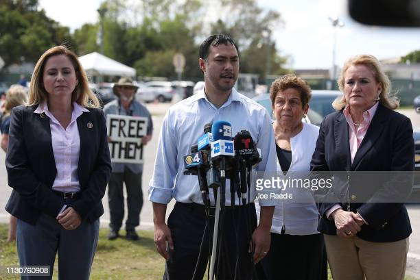Rep Debbie MucarselPowell Rep Joaquin Castro Rep Donna Shalala and Rep Sylvia García speak to the media after touring the Homestead Temporary Shelter...
