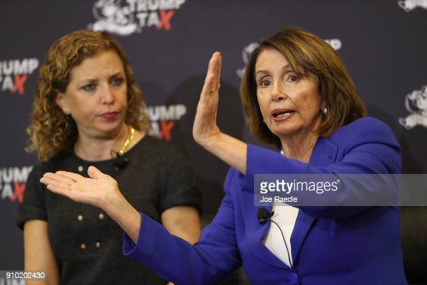 Rep Debbie Wasserman Schultz and House Minority Leader Nancy Pelosi participate in a tax town hall discussion at Florida Atlantic University on...