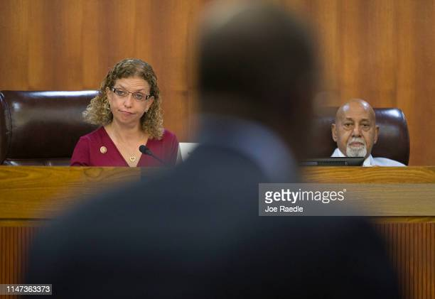 Rep Debbie Wasserman Schultz and Rep Alcee L Hastings listen as Andrew Gillum Forward Florida Chair speaks during the Elections Subcommittee field...