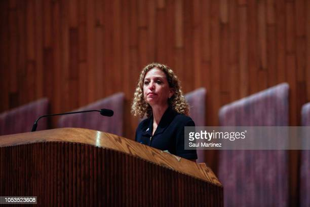 S Rep Debbie Wasserman Schultz at a candidate forum at Temple Kol Ami on October 25 2018 in Plantation Florida The forum was held to discuss issues...