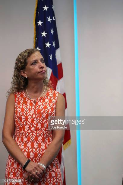 Rep Debbie Wasserman Schultz attends a press conference held at the Sunrise Police Department asking the federal government to ban 3D printed gun on...
