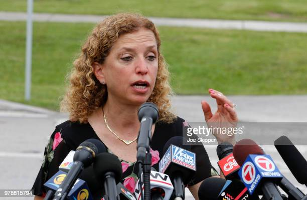 S Rep Debbie Wasserman Schultz speaks after she and US Sen Bill Nelson were denied access to the Homestead Temporary Shelter For Unaccompanied...