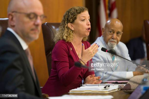 Rep Debbie Wasserman Schultz speaks as Rep Ted Deutch and Rep Alcee L Hastings look on during the Elections Subcommittee field hearing on 'Voting...