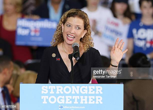 Rep Debbie Wasserman Schultz speaks before the arrival of Democratic presidential candidate Hillary Clinton during a campaign rally at the Sunrise...