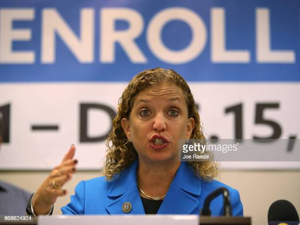 Rep Debbie Wasserman Schultz speaks during a press conference at the Broward Regional Health Planning Council about the Affordable Care Act on...