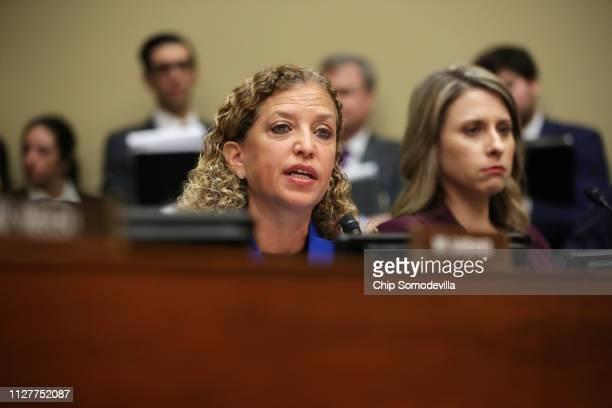 S Rep Debbie Wasserman Schultz speaks during testimony by Michael Cohen former attorney and fixer for President Donald Trump before the House...