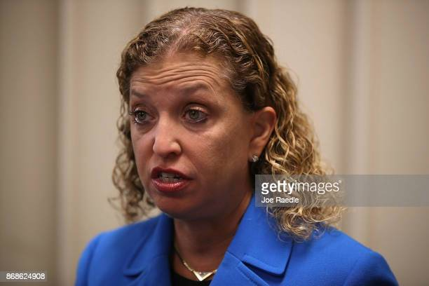 Rep Debbie Wasserman Schultz speaks to reporters about Special Counsel Robert Mueller and the events that unfolded in Washington DC after a press...