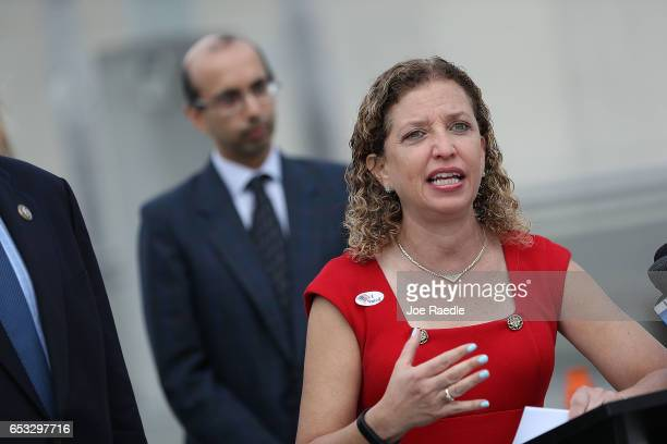 Rep Debbie Wasserman Schultz speaks to the media about 'President Trump's budget crisis' at the Fort LauderdaleHollywood International airport on...