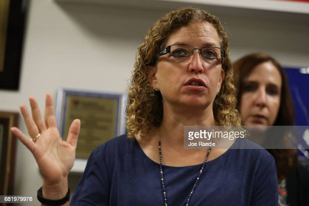 Rep Debbie Wasserman Schultz speaks with the media after she held a meeting with immigration advocacy group leaders met on May 11 2017 in Sunrise...