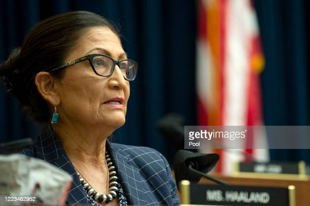 S Rep Debra Haaland attends a House Natural Resources Committee hearing examining Park Police response to Lafayette Square protests on June 29 2020...
