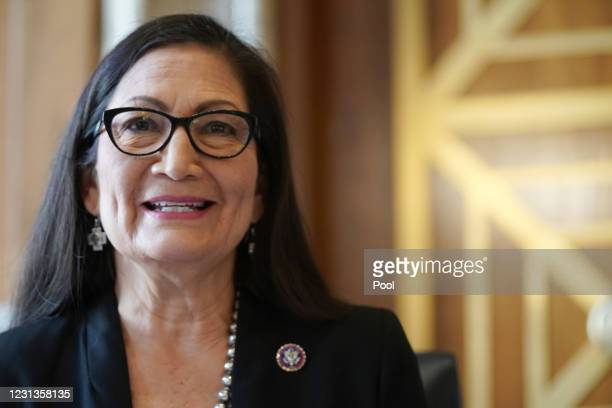 Rep. Debra Haaland, President Joe Biden's nominee for Secretary of the Interior, testifies during her confirmation hearing before the Senate...
