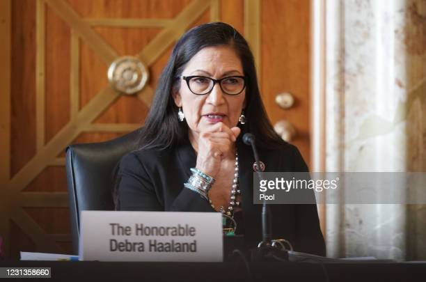 Rep. Debra Haaland , President Joe Biden's nominee for Secretary of the Interior, testifies at a confirmation hearing before the Senate Committee on...
