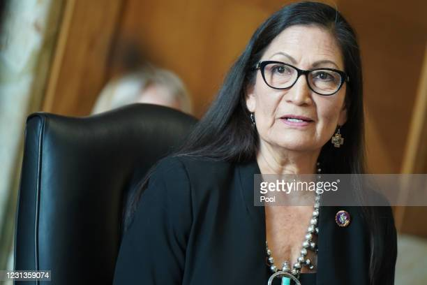 Rep. Debra Haaland , President Joe Biden's nominee for Secretary of the Interior, testifies during her confirmation hearing before the Senate...