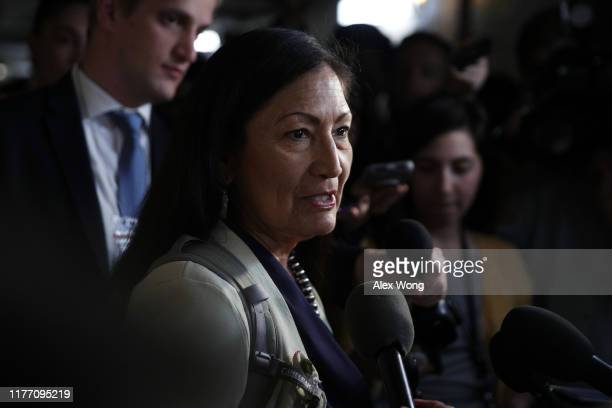 S Rep Debra Haaland speaks to members of the media as she leaves a House Democratic Caucus meeting at the US Capitol September 25 2019 in Washington...