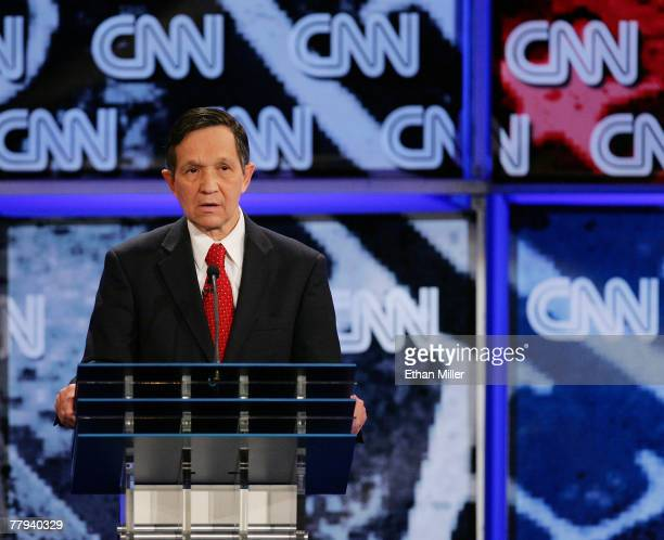 S Rep Dennis Kucinich attends a Democratic presidential debate at UNLV sponsored by CNN November 15 2007 in Las Vegas Nevada