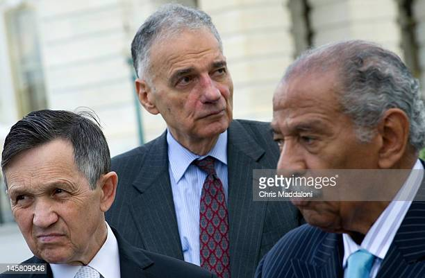 Rep Dennis Kucinich DOhio political activist Ralph Nader and Rep John Conyers DMich speak at a news conference to discuss the introduction of...
