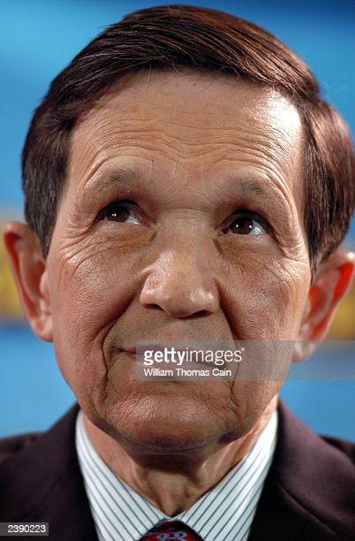 Rep. Dennis Kucinich participates in a town hall meeting of Democratic presidential candidates at the National Constitution Center August 11, 2003 in...