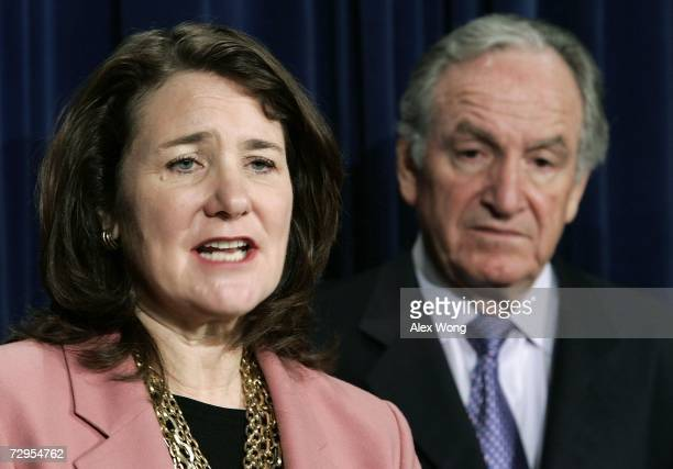 S Rep Diana DeGette speaks as Sen Tom Harkin listens during a news conference on the Stem Cell Research Enhancement Act January 9 2007 on Capitol...