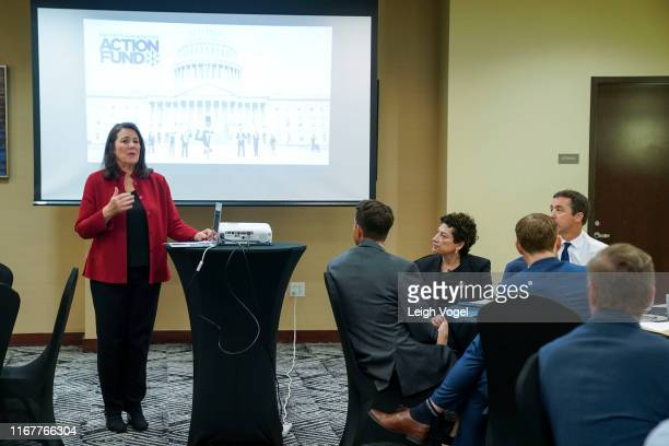 Rep Diana DeGette speaks during Pro Athletes Join Protect Our Winters Action Fund In Urging Congress To Act On Climate Climate Public Lands at...