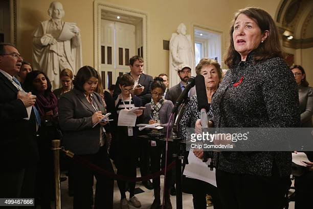 Rep Diana DeGette talks to reporters during a news conference in the US Capitol December 1 2015 in Washington DC Nadler and fellow Democrats were...