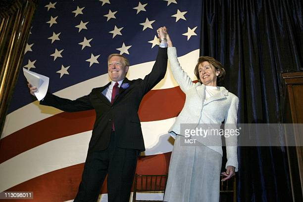 WASHINGTON DC Rep Dick Gephardt raises the arm of new House Minority Leader Nancy Pelosi after a ceremonial swearing in Tuesday morning January 7 in...