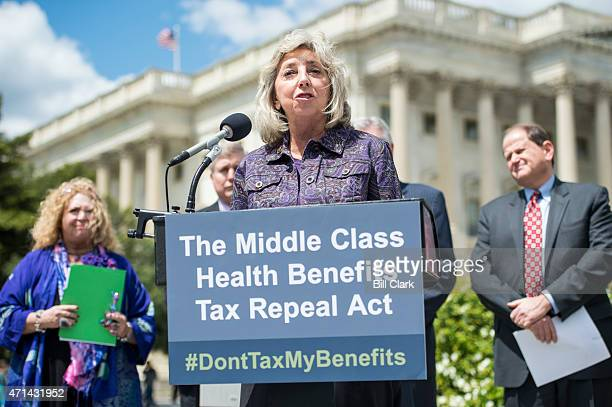Rep. Dina Titus, D-Nev.,, speaks during the news conference to unveil legislation to repeal the impending excise tax on health benefits on Tuesday,...