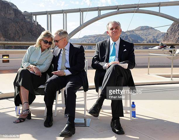 US Rep Dina Titus US Senate Majority Leader Harry Reid and US Transportation Secretary Ray LaHood attend the dedication of the Mike O'CallaghanPat...