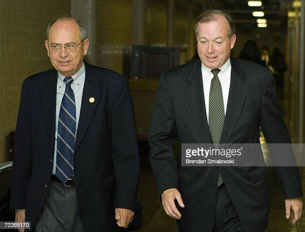 S Rep Doc Hastings chairman of the House Committee on Standards of Official Conduct arrives with his advisor Ed Cassidy for a hearing of the...