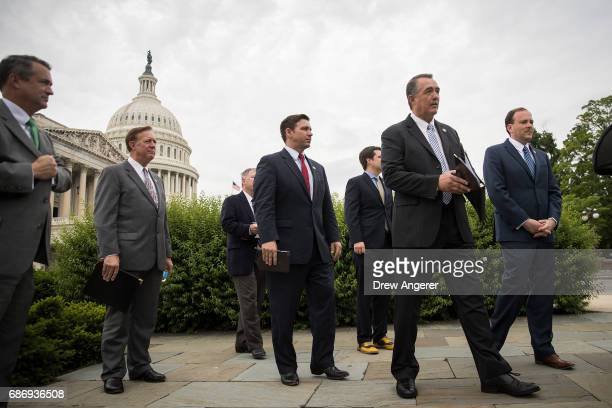 Rep Don Bacon Rep Randy Weber Rep Ron DeSantis Rep Matt Gaetz Rep Trent Franks and Rep Lee Zeldin wait for the start of a press conference with...