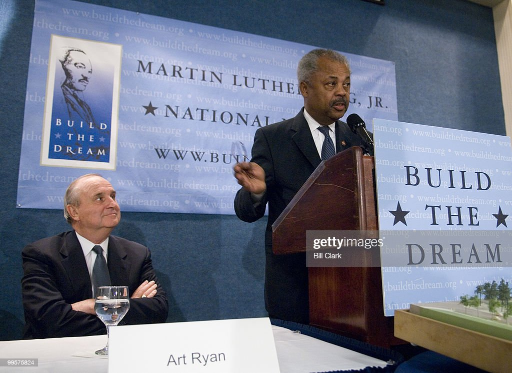 Rep. Donald Payne, D-N.J., speaks as Art Ryan, chairman and CEO of Prudential Financial, looks on during the Martin Luther King, Jr., National Memorial news conference at the National Press Club in Washington on Monday, May 7, 2007. The event was held to announce a One million dollar donation from Prudential Financial.