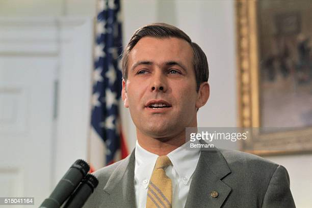 Rep Donald Rumsfeld of Illinois speaks to reporters at the White House 4/21 after it was announced that he was President Nixon's choice for...