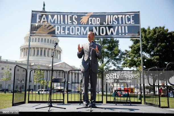 Rep Doug Collins speaks during a rally calling for criminal justice reform outside the US Capitol July 10 2018 in Washington DC Demonstrators and...