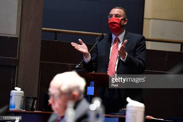 Rep Doug Collins tries to make a point of order in a House Judiciary Committee hearing on oversight of the Justice Department and a probe into the...