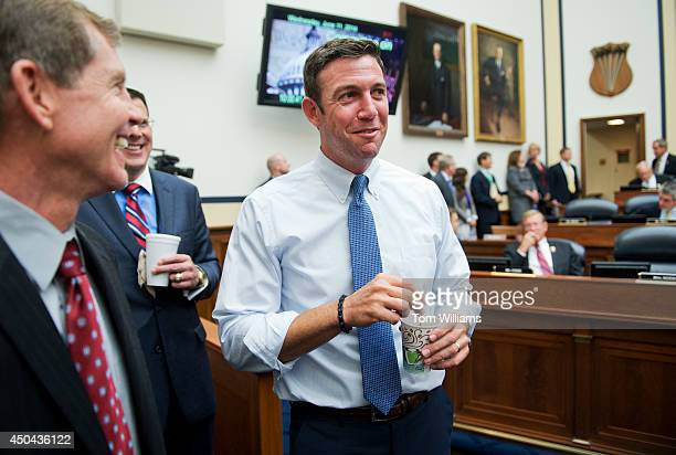 Rep Duncan Hunter RCalif talks with attendees of a House Armed Services Committee hearing in Rayburn Building on the Sgt Bowe Bergdahl prisoner...