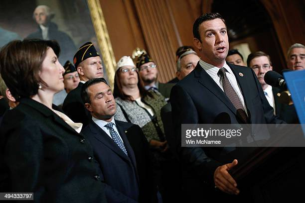 Rep Duncan Hunter speaks during a news conference held by House Republicans on Protecting America's Veterans at the US Capitol May 29 2014 in...