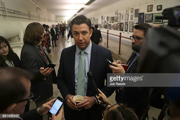Rep Duncan Hunter speaks to the media before a painting he found offensive and removed is rehung on the US Capitol walls on January 10 2017 in...