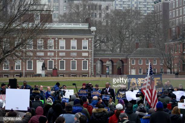 US Rep Dwight Evans speaks during a nonpartisan rally protesting the Federal Government Shutdown at Independence Mall in Philadelphia PA on January 8...