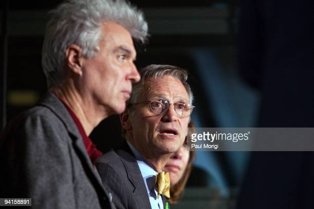 Rep Earl Blumenauer and David Byrne participate in the Cities Bicycles and the Future of Getting Around panel discussion hosted by The Brookings...