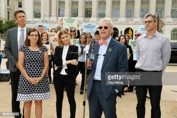 Rep Earl Blumenauer speaks at The Humane Society of the United States' rally at USDA on June 7 2017 in Washington DC Advocates rallied to urge USDA...