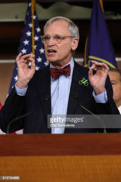 Rep Earl Blumenauer talks to reporters while announcing the House Democrats' new infrastructure plan during a news conference at the US Capitol...