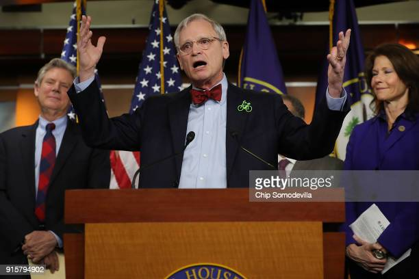 Rep Earl Blumenauer talks to reporters while announcing the House Democrats' new infrastructure plan during a news conference with Rep Frank Pallone...