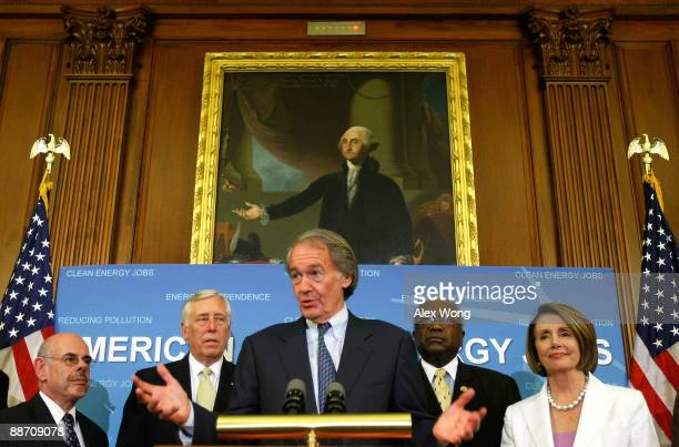 S Rep Ed Markey speaks as Rep Henry Waxman House Democratic Leader Rep Steny Hoyer House Democratic Whip Rep James Clyburn and Speaker of the House...