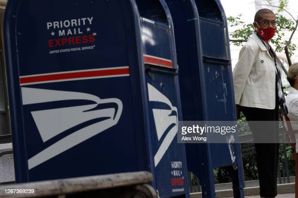 Rep. Eleanor Holmes Norton participates in a news conference on postal service outside the Benjamin Franklin Post Office on August 20, 2020 in...