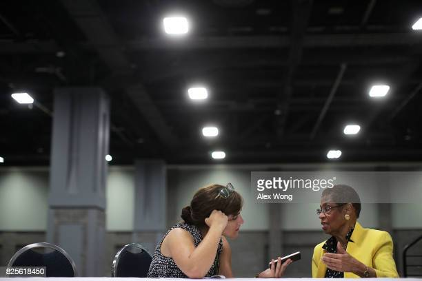 S Rep Eleanor Holmes Norton participates in an interview with Washington Times reporter Emma Ayers during a job fair at the Walter E Washington...