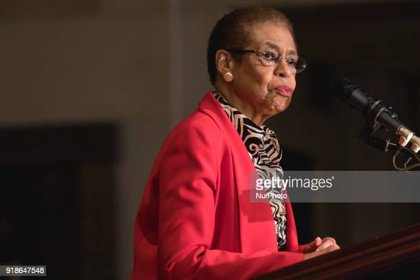 Rep Eleanor Holmes Norton speaks at the Commemoration of the Bicentennial of the Birth of Frederick Douglass in Emancipation Hall of the US Capitol...