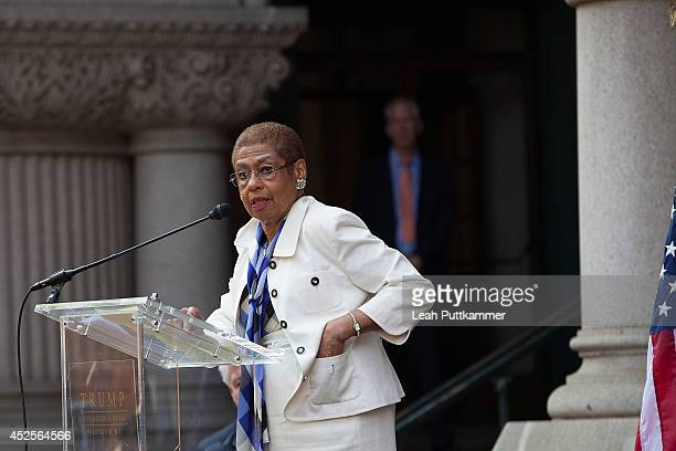 Rep. Eleanor Holmes Norton speaks at the Trump International Hotel Washington, D.C Groundbreaking Ceremony on July 23, 2014 in Washington, DC.
